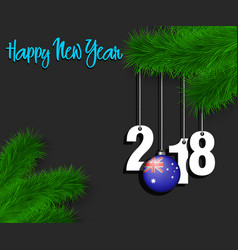 Australia flag and 2018 on a tree branch vector