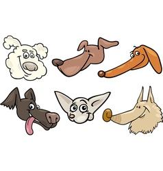 Cartoon happy dogs heads set vector image vector image
