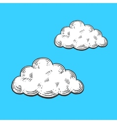 Cloud engraving style vector image