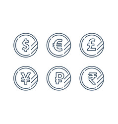 dollar sign euro symbol pound icon ruble coin vector image