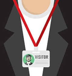 Flat design visitor pass vector