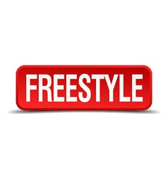 Freestyle red 3d square button isolated on white vector