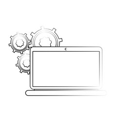 Gears on computer screen icon image vector