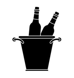 glass bottles wine bucket pictogram vector image vector image