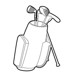 Golfing bag icon outline style vector