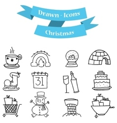 Hand draw of christmas set element vector