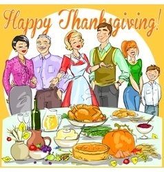 Happy family celebrating thanksgiving day vector