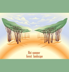 Hot summer forest landscape vector image vector image