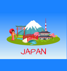 Japan national symbols flat concept vector