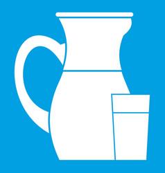 Jug of milk icon white vector