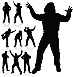 Man in various poses black silhouette vector