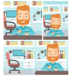 Man using three D pen vector image vector image