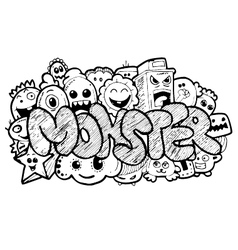 Monster cartoon hand-drawn doodle vector image vector image