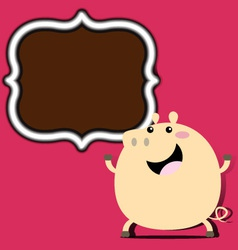Pig with frame vector image vector image