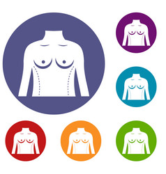 Plastic surgery of torso icons set vector