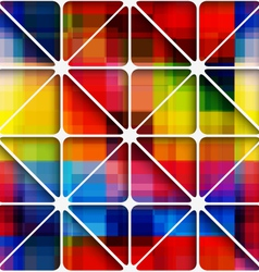 Rainbow pixel background with net seamless pattern vector