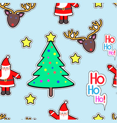 Santa clause deer tree star seamless pattern vector