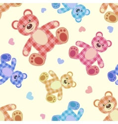 Seamless bear light patchwork pattern vector image vector image