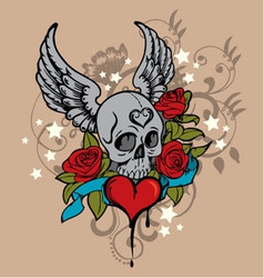 tattoo skull graphic vector image vector image
