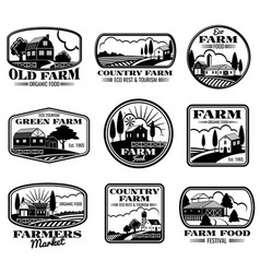 Vintage farm marketing logos and labels set vector