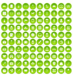 100 case icons set green circle vector