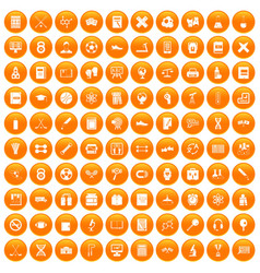100 college icons set orange vector