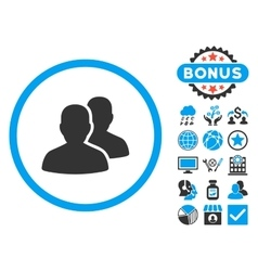 Users flat icon with bonus vector