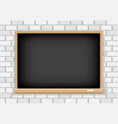 Blackboard on white brick background vector