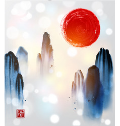 mountains in fog and red sun hand drawn with ink vector image