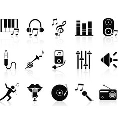 Black music audio icons set vector