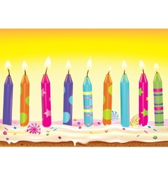 Set burning candles on the cake vector