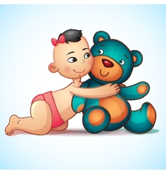 Asian baby girl with hugs teddy bear toy on a vector