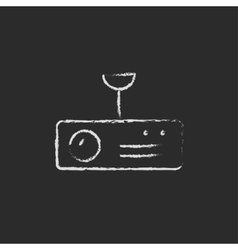 Vintage radio with analog dials and antenna drawn vector