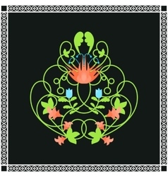 Floral ornament green swirls and flowers frame vector