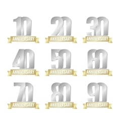 Set of anniversary silver signs vector