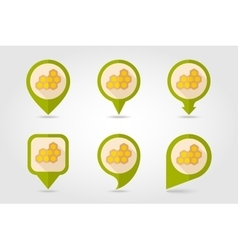 Honeycomb bee flat mapping pin icon vector
