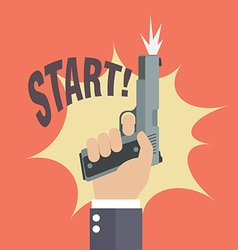Hand firing a gun with start word vector