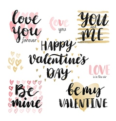 Valentine s day calligraphic set vector