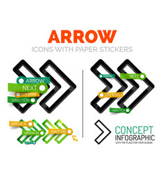 Arrow linear style icons 3d cut out relief vector
