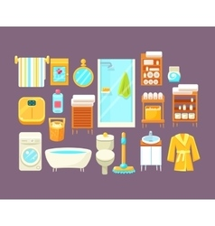 Bathroom interior elements set vector