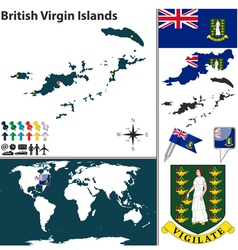 British virgin islands map world vector