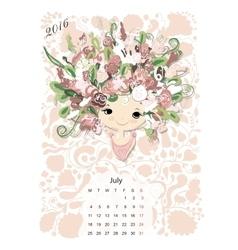 Calendar 2016july month season girls design vector
