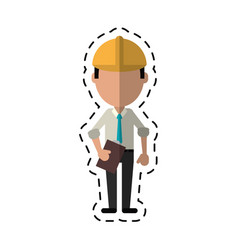 Cartoon business man construction clipboard helmet vector