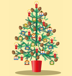 Christmas tree decorated with glass beads and vector