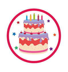 Color background with birthday cake vector