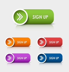 Colored rectangular web buttons sign up vector