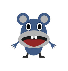 Cute blue mouse vector