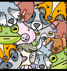 cute natural animal background design vector image vector image