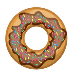donut with chocolate and colours sparks colorful vector image