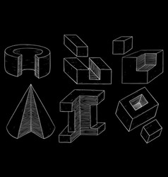 Geometric figures cube and cone shapes hand vector